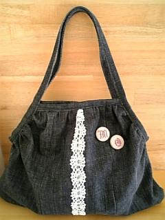 リメイクデニムのグラニーバッグ